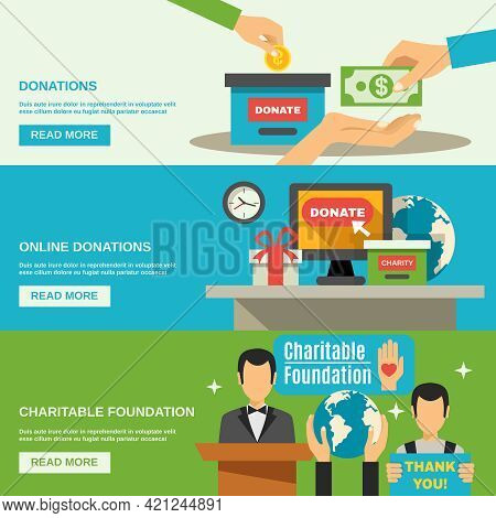 Charity Horizontal Banners Set With Charitable Foundation Symbols Flat Isolated Vector Illustration