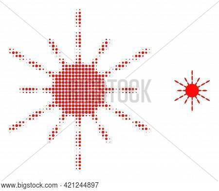 Sun Rays Halftone Dot Icon Illustration. Halftone Array Contains Round Points. Vector Illustration O