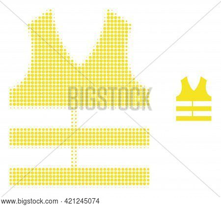 Safety Vest Halftone Dotted Icon Illustration. Halftone Array Contains Circle Points. Vector Illustr