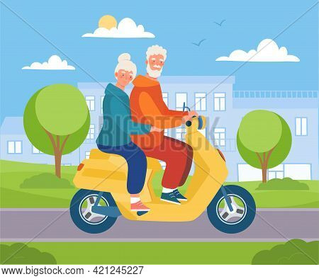 Cute Elderly Couple Is Driving Scooter In The City. Cheerful Male And Female Characters Are Driving