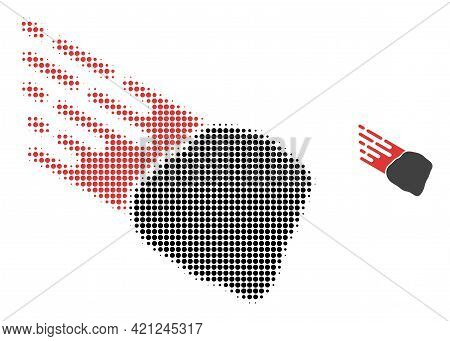 Stone Meteorite Halftone Dotted Icon Illustration. Halftone Pattern Contains Circle Dots. Vector Ill