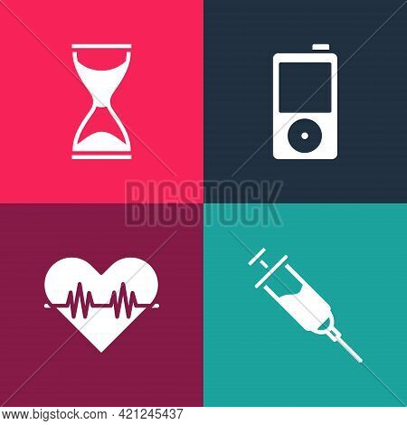 Set Pop Art Doping Syringe, Heart Rate, Music Player And Old Hourglass Icon. Vector