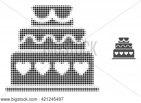 Marriage Cake Halftone Dotted Icon Illustration. Halftone Array Contains Round Pixels. Vector Illust