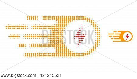 Electrical Strike Halftone Dot Icon Illustration. Halftone Array Contains Round Pixels. Vector Illus