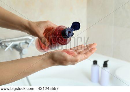 Female Hands Apply Shower Gel, Close Up