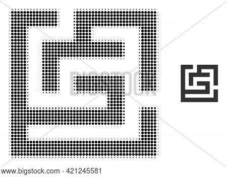 Labyrinth Halftone Dotted Icon Illustration. Halftone Pattern Contains Round Elements. Vector Illust