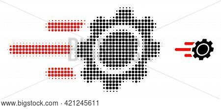 Rush Gear Halftone Dot Icon Illustration. Halftone Array Contains Round Dots. Vector Illustration Of