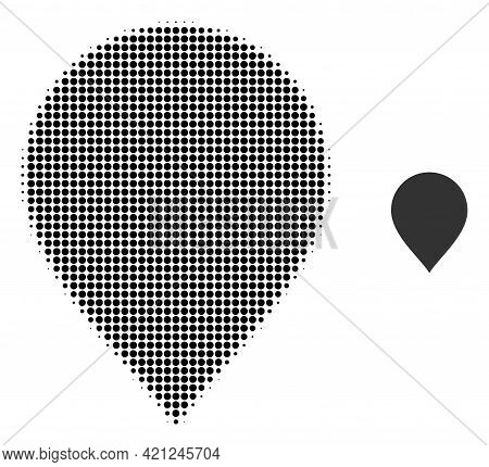 Map Pointer Halftone Dotted Icon Illustration. Halftone Array Contains Circle Pixels. Vector Illustr