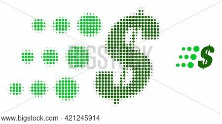 Fast Dollar Halftone Dot Icon Illustration. Halftone Pattern Contains Circle Elements. Vector Illust