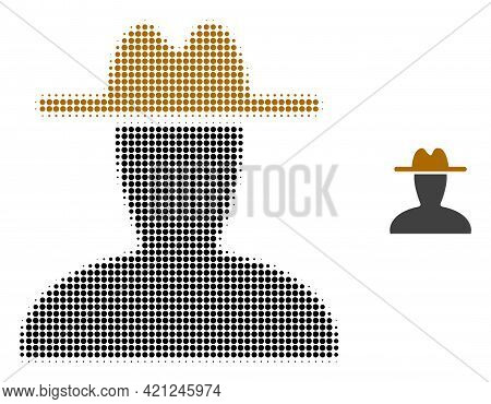 Peasant Persona Halftone Dotted Icon Illustration. Halftone Array Contains Circle Elements. Vector I