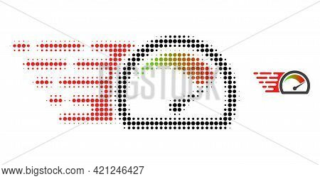 Speed Gauge Halftone Dot Icon Illustration. Halftone Array Contains Circle Dots. Vector Illustration