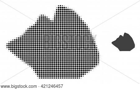 Rock Stone Halftone Dotted Icon Illustration. Halftone Array Contains Circle Elements. Vector Illust