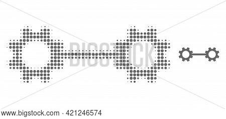 Gear Links Halftone Dot Icon Illustration. Halftone Array Contains Circle Elements. Vector Illustrat