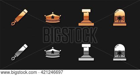 Set Fountain Pen Nib, Police Cap With Cockade, Stamp And Flasher Siren Icon. Vector