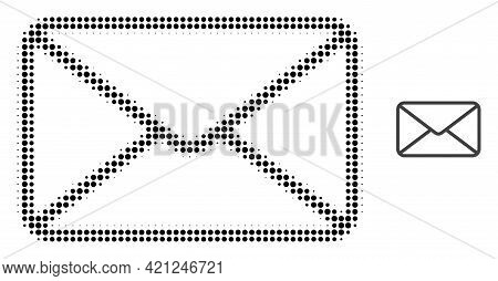 Envelope Halftone Dotted Icon Illustration. Halftone Array Contains Round Points. Vector Illustratio