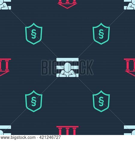 Set Courthouse Building, Prisoner And Justice Law Shield On Seamless Pattern. Vector