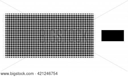 Filled Rectangle Halftone Dot Icon Illustration. Halftone Pattern Contains Round Dots. Vector Illust