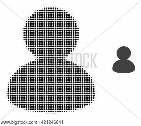 User Halftone Dot Icon Illustration. Halftone Array Contains Circle Dots. Vector Illustration Of Use