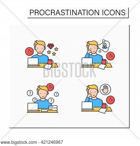 Procrastination Color Icons Set. Perfectionist, Dreamer, Overdoer Procrastinator. Overwhelmed Concep