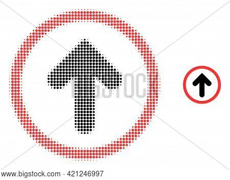 Up Pointer Halftone Dot Icon Illustration. Halftone Pattern Contains Round Elements. Vector Illustra