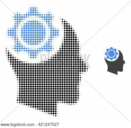 Human Intellect Gear Halftone Dotted Icon Illustration. Halftone Pattern Contains Round Pixels. Vect