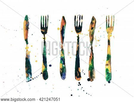 Colorful Decorative Cutlery. Set Of Forks And Knives. Watercolour Drawing With Multicolor Splash,spo