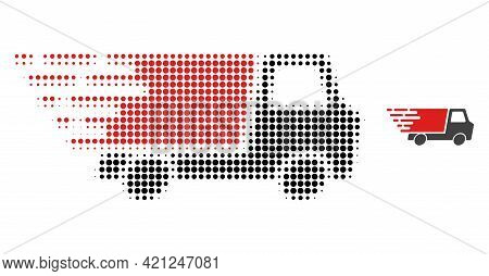 Quick Delivery Halftone Dot Icon Illustration. Halftone Array Contains Round Pixels. Vector Illustra