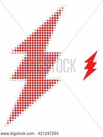 Electric Spark Halftone Dot Icon Illustration. Halftone Array Contains Circle Dots. Vector Illustrat