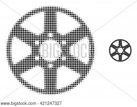 Wheel Halftone Dotted Icon Illustration. Halftone Array Contains Round Points. Vector Illustration O