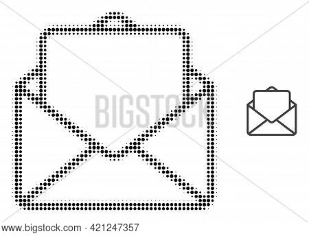 Open Letter Halftone Dotted Icon Illustration. Halftone Pattern Contains Round Dots. Vector Illustra