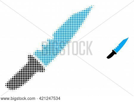 Knife Halftone Dotted Icon Illustration. Halftone Pattern Contains Round Elements. Vector Illustrati