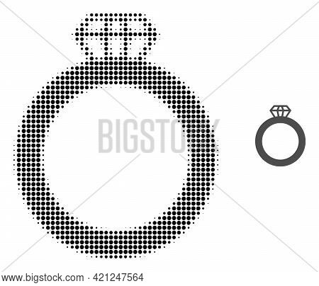 Gem Ring Halftone Dotted Icon Illustration. Halftone Array Contains Round Points. Vector Illustratio