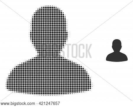 User Halftone Dot Icon Illustration. Halftone Pattern Contains Circle Dots. Vector Illustration Of U