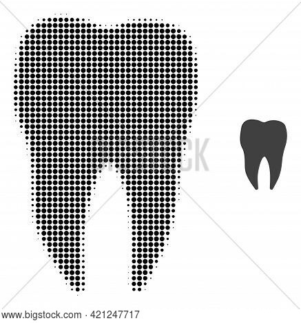 Dental Tooth Halftone Dotted Icon Illustration. Halftone Array Contains Circle Pixels. Vector Illust