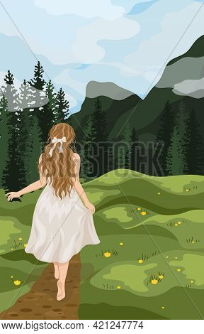 Woman Relax Outdoor At Natural Landscape Vector Flat Illustration. Scenes With People Walking Alone,