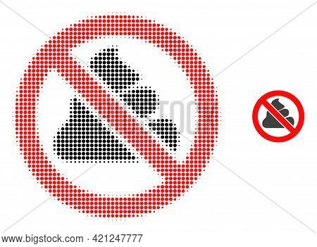 Forbidden Shit Halftone Dot Icon Illustration. Halftone Pattern Contains Round Dots. Vector Illustra