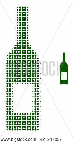 Wine Bottle Halftone Dotted Icon Illustration. Halftone Pattern Contains Round Elements. Vector Illu