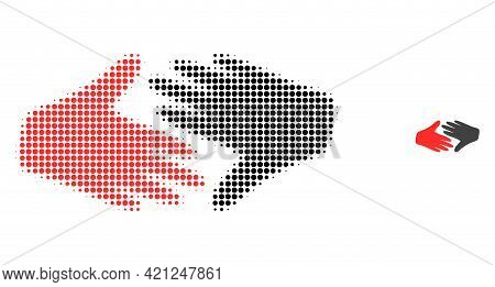 Fair Trade Handshake Halftone Dotted Icon Illustration. Halftone Pattern Contains Circle Pixels. Vec