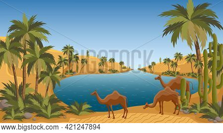 Desert Oasis With Palms Nature Landscape Scene. Palm Trees, Pond And Sands Of Arabia. Egypt Hot Dune