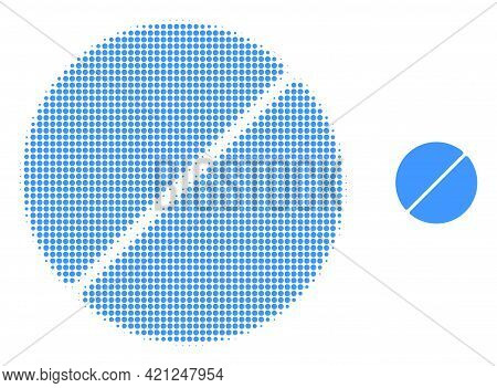 Medication Tablet Halftone Dot Icon Illustration. Halftone Array Contains Circle Points. Vector Illu