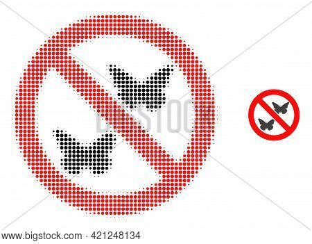 Forbidden Butterflies Halftone Dot Icon Illustration. Halftone Array Contains Round Points. Vector I
