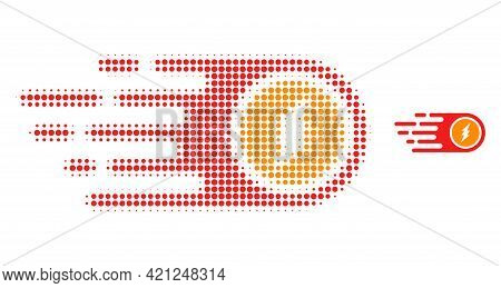 Electrical Rush Halftone Dotted Icon Illustration. Halftone Array Contains Round Pixels. Vector Illu