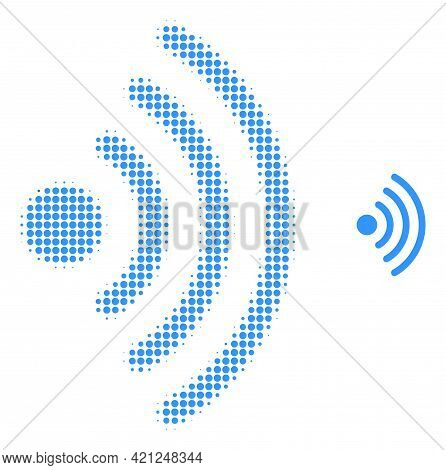 Wi-fi Source Halftone Dot Icon Illustration. Halftone Pattern Contains Round Pixels. Vector Illustra