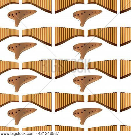 Realistic Pan Flute And Ocarina Isolated Seamless Pattern On White Background. Traditional Russian A