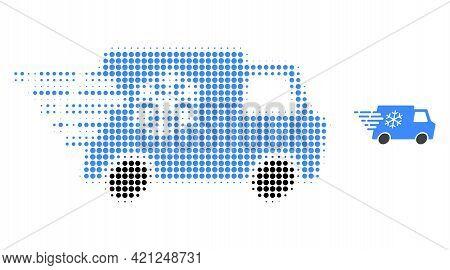 Refrigerator Car Halftone Dot Icon Illustration. Halftone Pattern Contains Round Points. Vector Illu