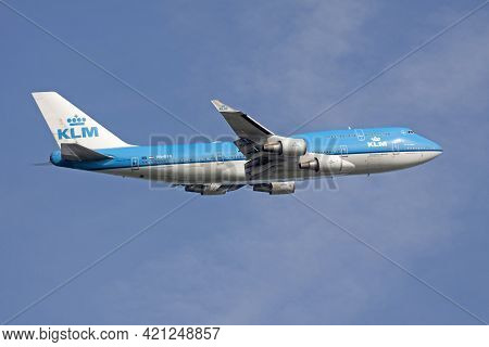 Amsterdam, The Netherlands - August 14,2017: Blue Boeing 747 Of The Klm Just Rising From The Schipho