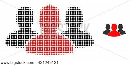Leader Men Group Halftone Dotted Icon Illustration. Halftone Pattern Contains Round Pixels. Vector I