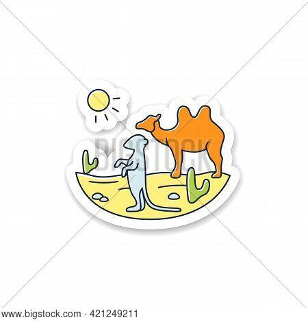 Desert Sticker Icon. Camel And Suricat On Desert Landscape. Cactus, Sun, Summer Badge For Designs. W