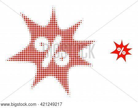 Discount Boom Halftone Dot Icon Illustration. Halftone Array Contains Round Dots. Vector Illustratio