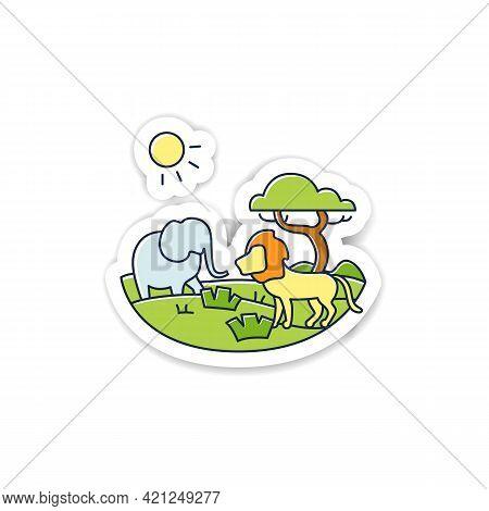 Savanna Sticker Icon. Living Place For Powerful Predators. Grasslands Biome Badge For Designs. Dange